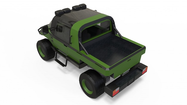 Spezielles geländewagen für schwieriges gelände und schwierige straßen- und wetterbedingungen. 3d-rendering.