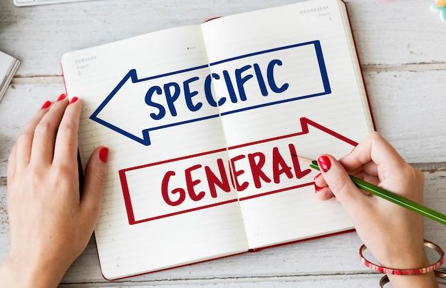 Spezifisches allgemeines pfeil-chioce-entscheidungswort
