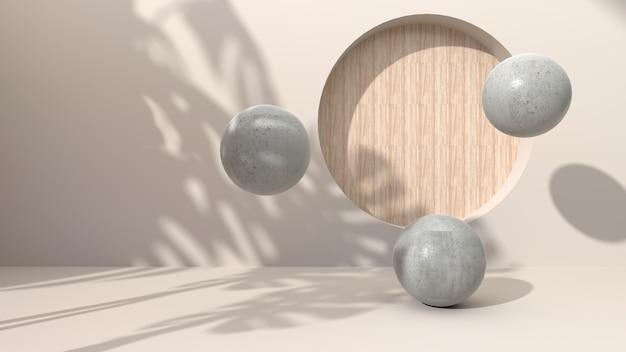 Sphärischer geometrischer beton auf einem cremefarbenen bohrloch mit abstraktem hintergrund, das rundes holz setzt. mit schattenblättern verziert. zur präsentation kosmetischer produkte. 3d-rendering