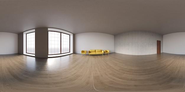 Sphärisches 360-grad-panorama-projektionspanorama im leeren innenraum im modernen bürogebäude