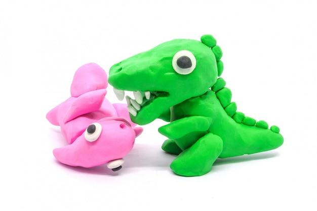 Spielen sie doh tyrannosaurus parasaurolophus auf weißem hintergrund
