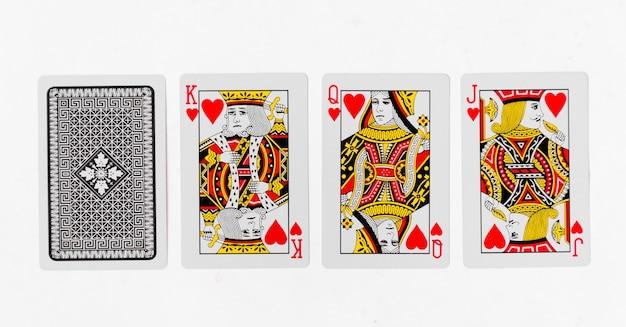 Spielkarten könig kartensuite und zurück weißen hintergrund modell