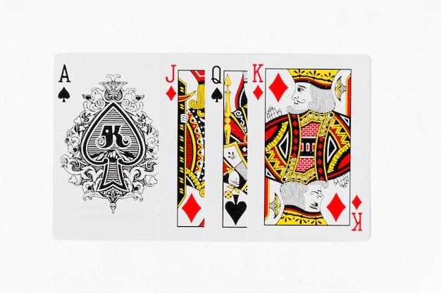 Spielkarten volles deck- und rückseitenweißhintergrundmodell