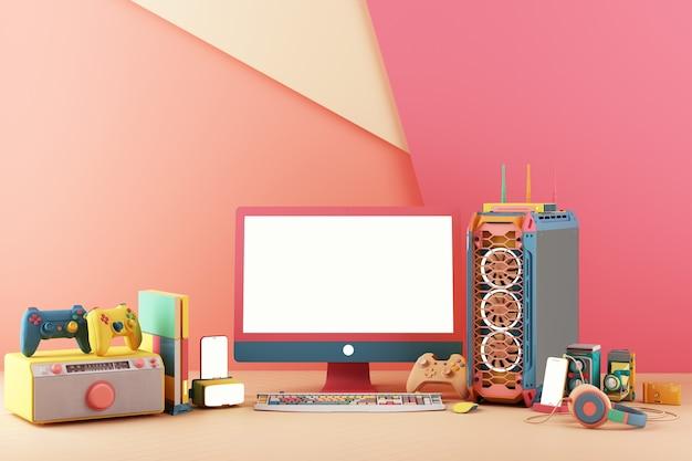 Spielkonzept. gamepad und handy mit freisprecheinrichtung videospielkonsole vr-computergehäuse und bildschirm mit minimalem trendigem design in bunten pastelltönen. 3d-rendering