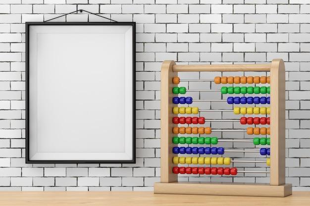 Spielzeug-abakus mit regenbogenfarbenen perlen vor brick wall mit blank frame extreme nahaufnahme. 3d-rendering
