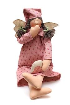 Spielzeug - handgemachte gähnende puppe mit flügeln