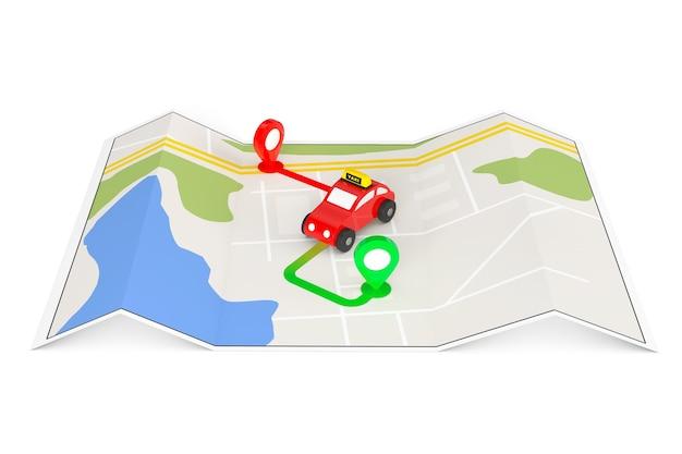 Spielzeug-taxi von oben der abstrakten navigationskarte mit extremer nahaufnahme der zielstifte.