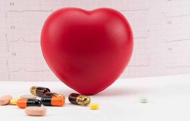 Spielzeugherz mit pillen auf elektrokardiogrammhintergrund kardiologiepflege des herzens