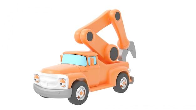 Spielzeuglastwagenkran getrennt über weißem backgroung