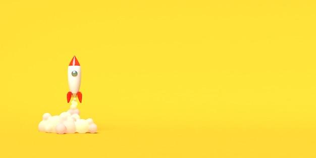 Spielzeugrakete hebt aus den büchern ab und spuckt rauch auf gelb