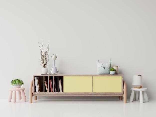 Spielzimmer der leere kinder mit kabinett- und tabellensitzen, puppe.
