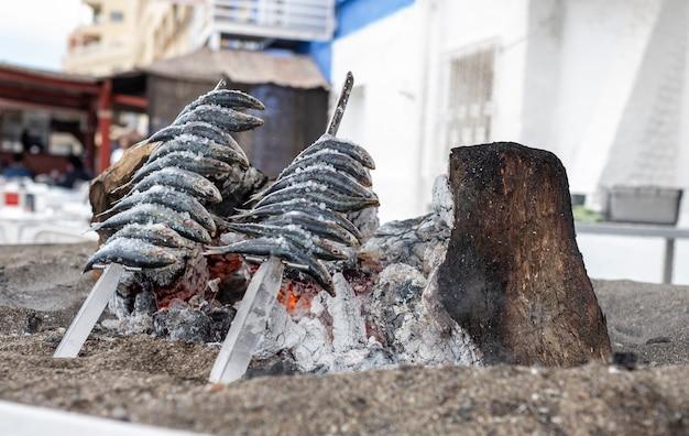 Spieße mit sardinen stachen an der spanischen küste über gegrillte erde