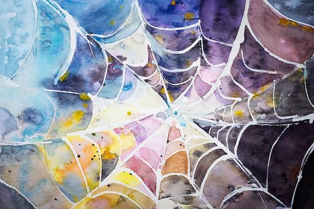 Spinne mehrfarbige web-aquarell-abstraktion