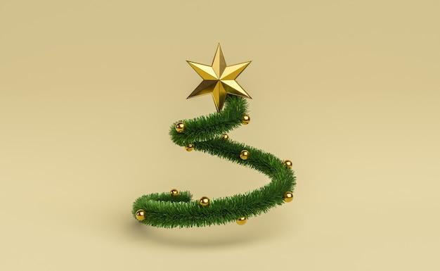 Spiralförmige girlande mit weihnachtsschmuck