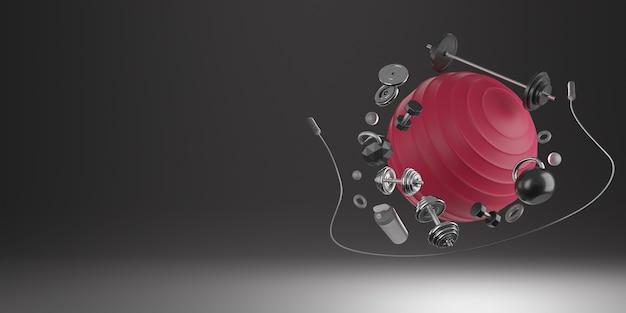Sport-fitnessgeräte: roter yoga-fit-ball, eine flasche wasser, hanteln, springseil und langhantel