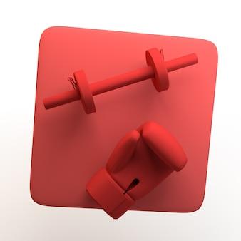 Sport- und gesundheitssymbol mit hanteln und boxhandschuh auf isoliertem weißem hintergrund 3d-illustration
