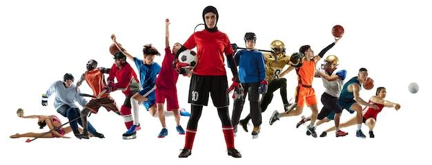 Sportcollage von profisportlern oder spielern auf weißem hintergrundflieger