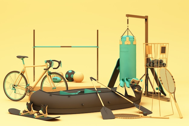Sportgeräte auf gelbem grund. 3d-rendering