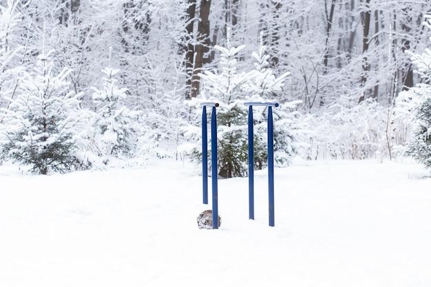Sportgerätesimulatoren zum muskelaufbau im winterpark auf der straße