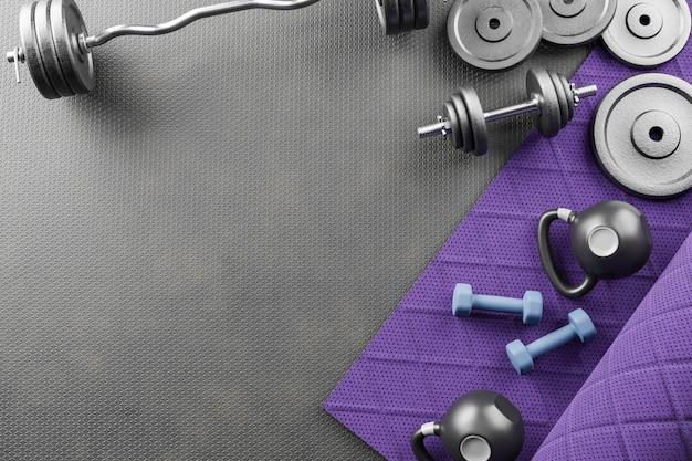 Sporthintergrund mit copyspace. draufsicht auf graue hanteln, schwarze kettlebell und trainingshandschuhe. gewichtheben übungskonzept.3d abbildung