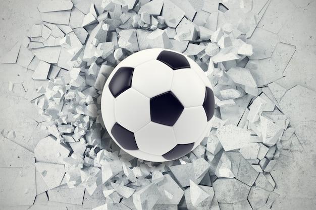 Sportillustration mit fußball, der in rissige wand kommt. gebrochene konkrete erde abstrakt. 3d-rendering