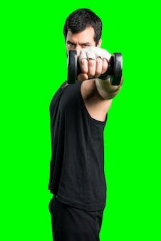 Sportman macht gewichtheben