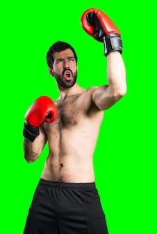 Sportman mit boxhandschuhen