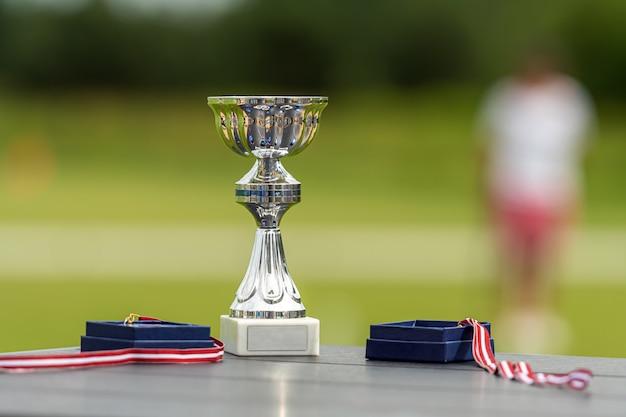 Sportspielpreise - pokal und medaillen auf dem hintergrund eines defokussierten krocketplatzes, nahaufnahme