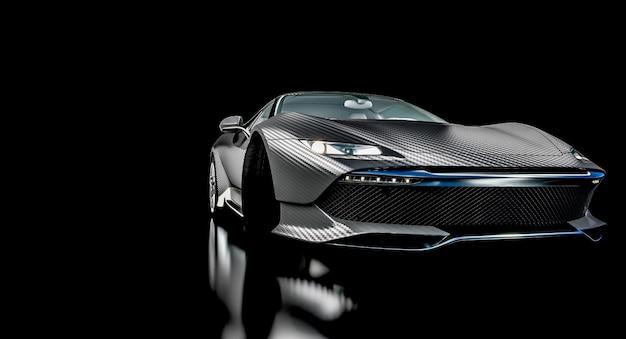 Sportwagen aus schwarzem kohlefaser. konzept von sport und luxus. 3d-rendering.