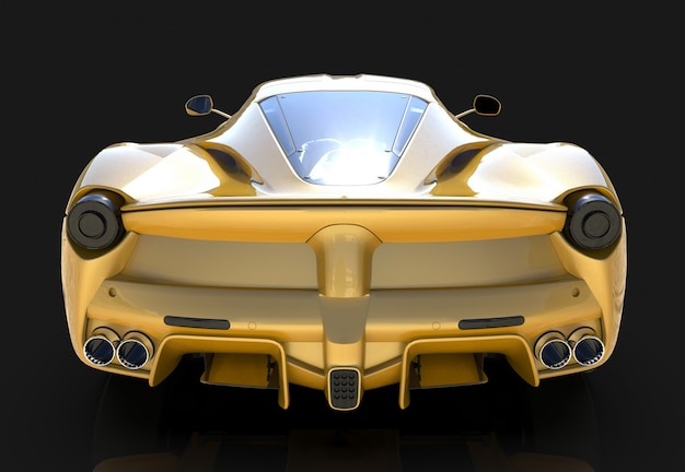 Sportwagen. das bild eines gelben sportautos auf einem schwarzen hintergrund