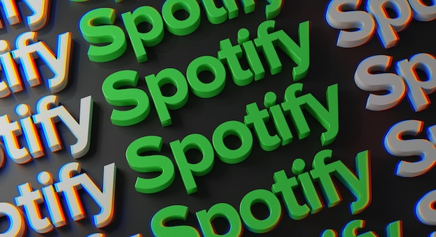 Spotify multiple typography an der dunklen wand