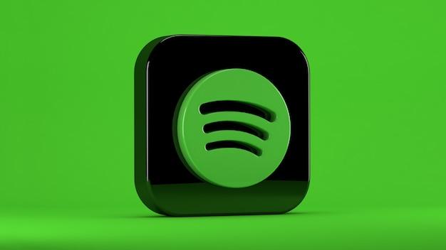 Spotify-symbol isoliert auf grün in einem quadrat mit stumpfen kanten