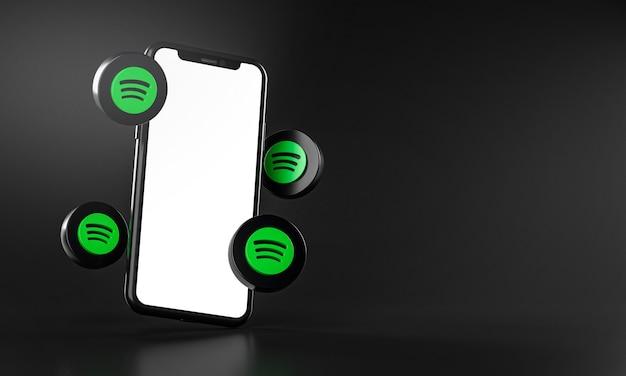 Spotify-symbole rund um das 3d-rendering der smartphone-app