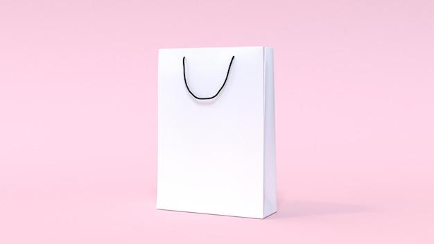 Spott der weißen papiertüte 3d herauf das minimale einkaufen des weichen rosa hintergrundes.