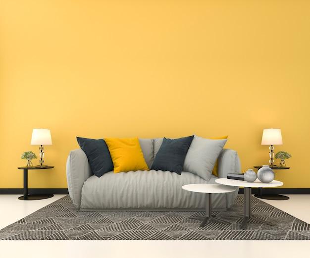 Spott der wiedergabe 3d herauf gelbe wand im wohnzimmer mit sofa