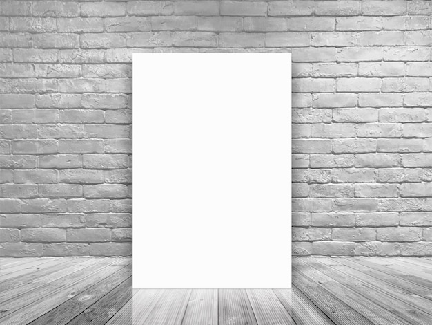 Spott herauf leeres plakat des entwurfes in der weißen backsteinmauer und im konkreten bodenraum