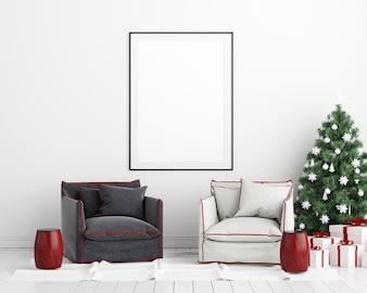 Spott herauf Plakat-Rahmen-Weihnachtsneuen Jahr-Innenraum-Hintergrund