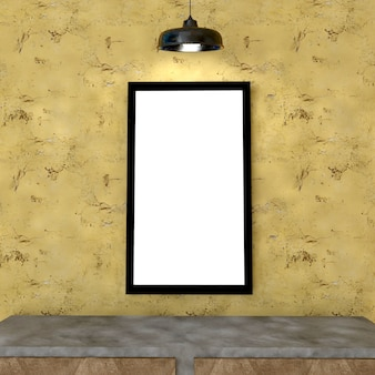 Spott herauf plakatrahmen im innenhintergrund, 3d übertragen