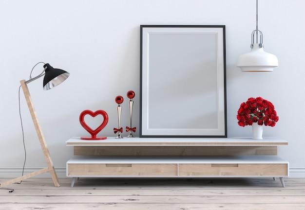 Spott herauf rahmen mit innenwohnzimmer des rosafarbenen valentinsgrußes