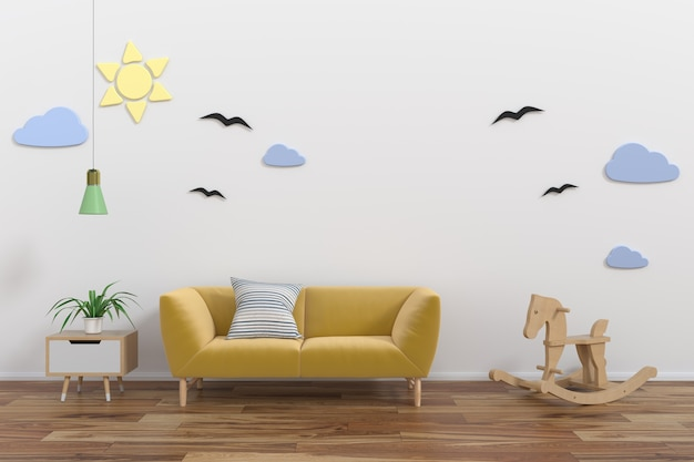 Spott herauf wand im kinderraum interior.3d wiedergabe, illustration 3d