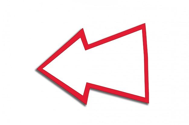 Spracheblase in form eines roten pfeiles lokalisiert auf einem weiß