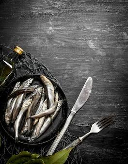 Sprat lorbeerblatt in einem fischernetz. auf einem schwarzen hölzernen hintergrund.