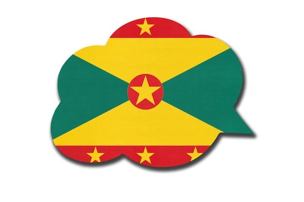 Sprechblase 3d mit grenadischer nationalflagge lokalisiert auf weißem hintergrund. symbol des landes grenada. weltkommunikationszeichen.