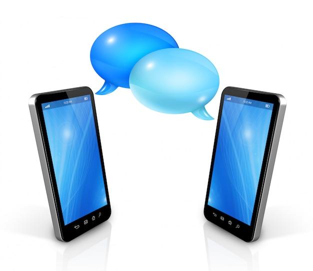 Sprechblasen und handys Premium Fotos