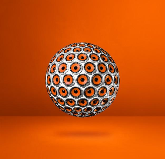 Sprecher kugel lokalisiert auf einem orange studiohintergrund. 3d-illustration