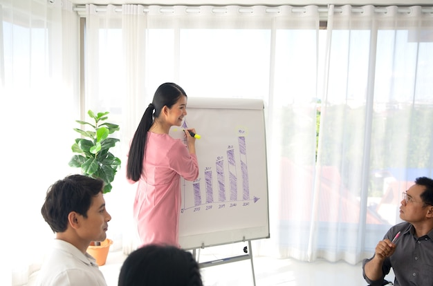 Sprecherin der geschäftsfrau, die auf der konferenz für geschäftstreffen einen vortrag vor dem publikum hält