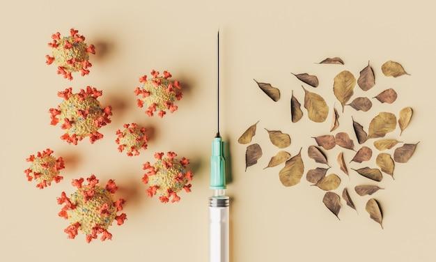 Spritze mit coronavirus-zellen und herbstlaub. konzept des schulanfangs, der herbstimpfung, des septembers und der impfung. 3d-rendering