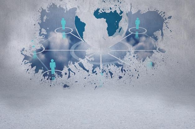 Spritzen sie auf der wand, die globale technologie co aufdeckt