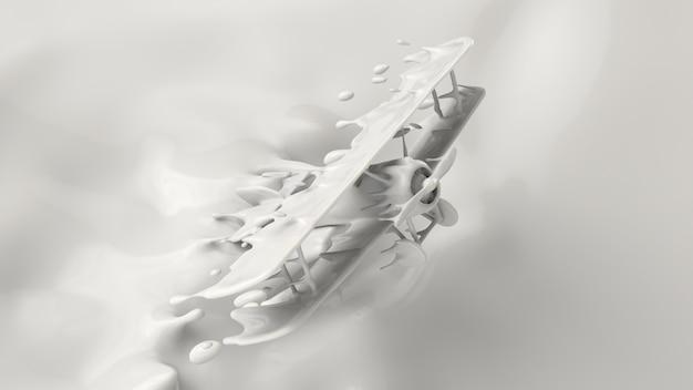 Spritzen sie von der milch und in eine flugzeugform spritzen, wiedergabe 3d, illustration 3d.