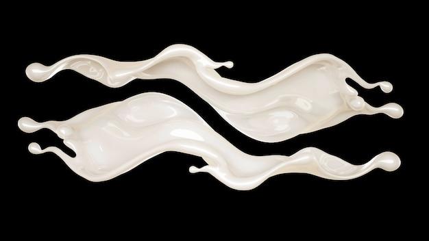 Spritzer der dicken weißen flüssigkeit auf einem schwarzen hintergrund. 3d-illustration
